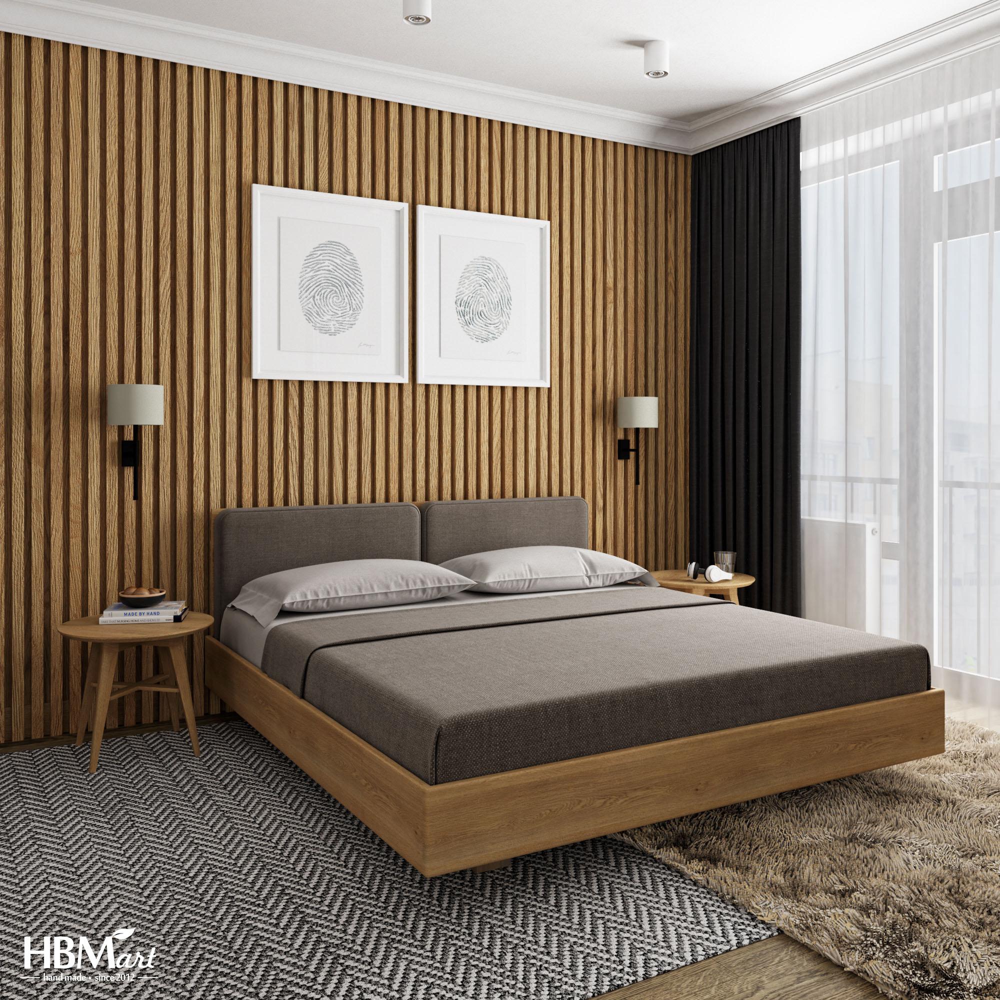 Ліжко MINIMAL-II з приліжовими тумбами KOLO-S від HBMart з натурального дуба