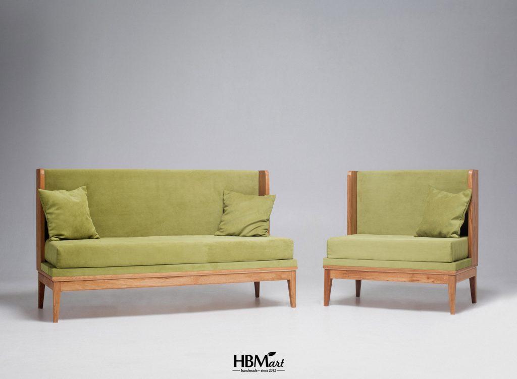 Кресло и диван из массива дуба WINGS от HBMart